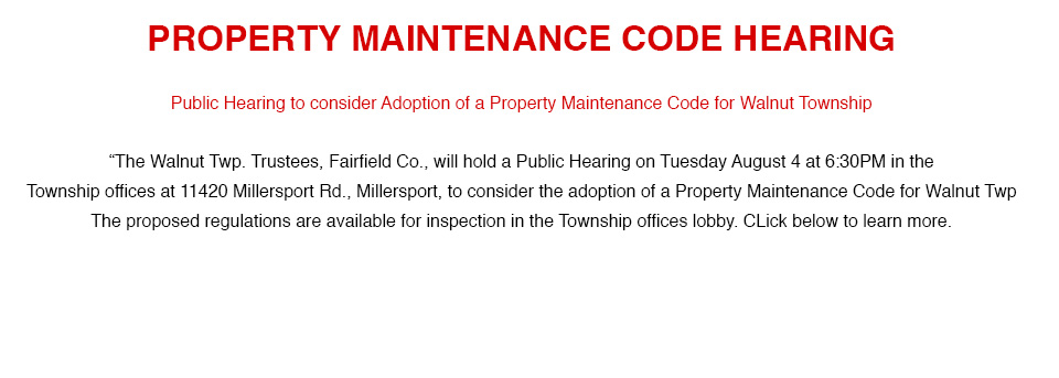 PROPERTY MAINTENANCE CODE HEARING