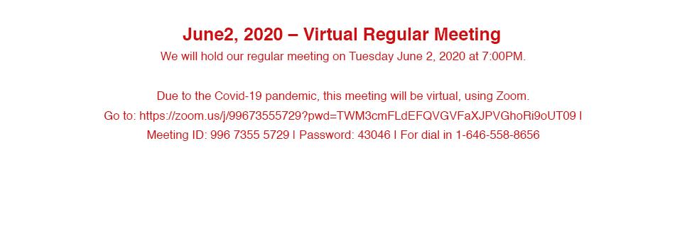 June 2, 2020 Virtual Meeting