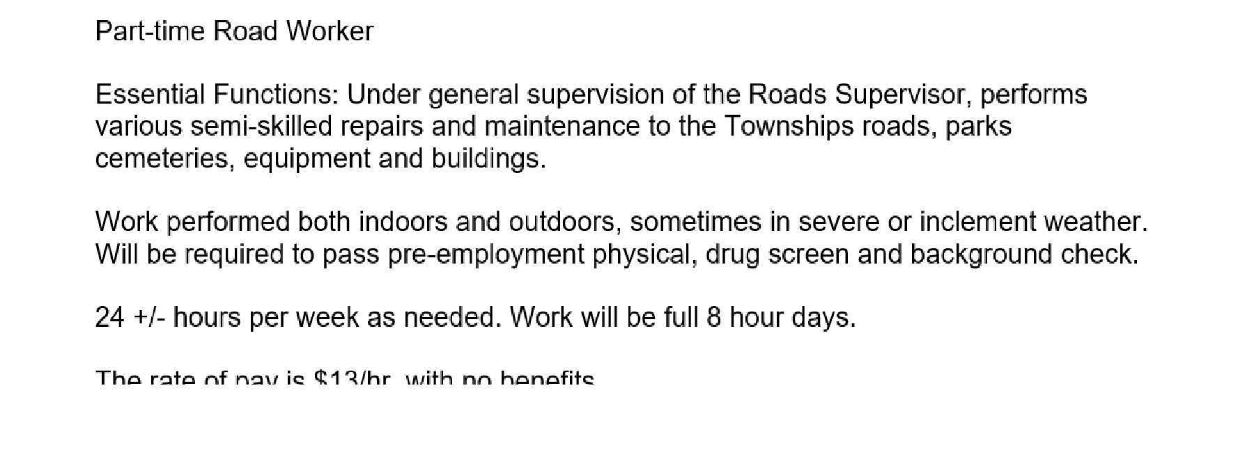 Employment Opportunity:  Part-time Road Worker