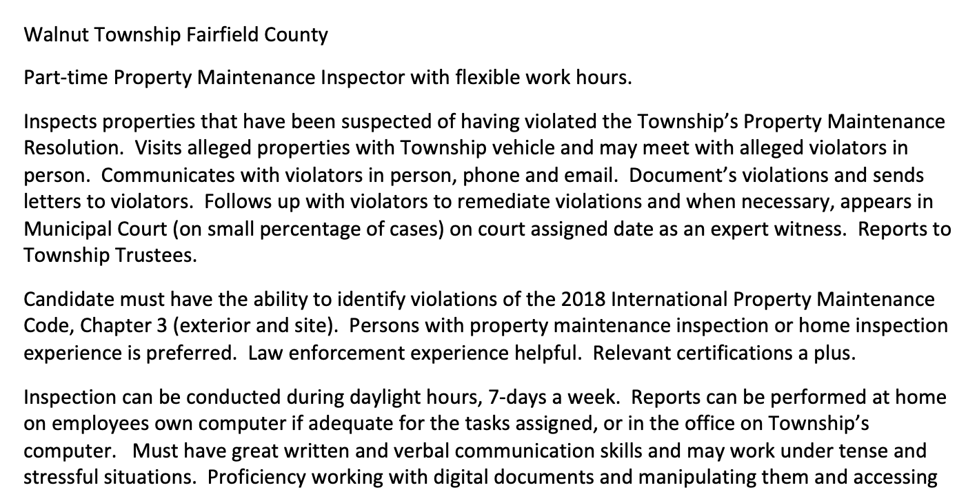 Employment Opportunity: Part-time Property Maintenance Inspector with flexible work hours.