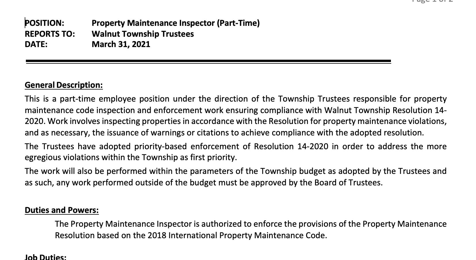 Property Maintenance Inspector (Part-Time)